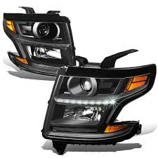 2017 chevy tahoe fog light kit 15 17 chevy tahoe suburban led drl projector headlights black amber