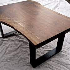 Rounded Edge Coffee Table - hand crafted live edge walnut coffee table by witness tree studios