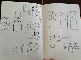 final sketches and draft handmade pattern for a new dress
