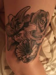 rose lily gerbera tattoo black and white tattoo pinterest