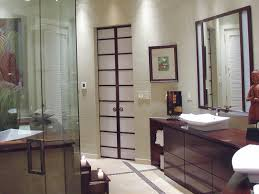 catching tranquil atmosphere from stylish japanese bathroom with