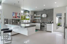 Kitchen Cabinets With Grey Countertops And California Design Glass - California kitchen cabinets