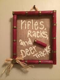 shot gun shell frame burlap rifles racks and deer tracks