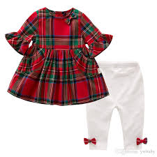 2018 Christmas Children Sets Girl Plaid Bow Flare Sleeve Dress With