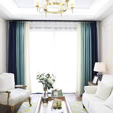 rideaux chambre à coucher blackout rideaux pour la chambre à coucher faux linge moderne bleu