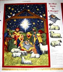 manger scene nativity religious baby jesus christmas door fabric