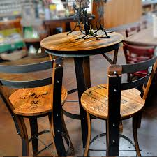 Barrel Bistro Table Unique Dining Chair Design With Oak Wine Barrels High Top Bistro