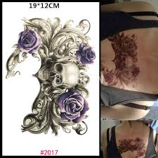 skull temporary waterproof purple roses tattoos sticker for