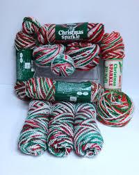 christmas sparkle bernat knitting worsted yarn destash vintage