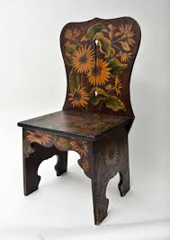sculptural wood side chair with pyrography and painted sunflower