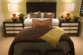 romantic master bedroom ideas with leather tufted headboard using