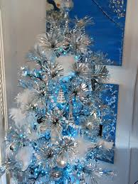 martha stewart home depot tree decorated with blue accents by