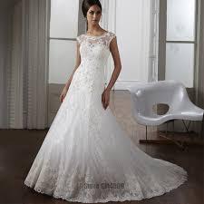 vestido de novia shiny lace mermaid wedding dresses sheer top