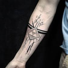 circuit lines tattoo with some geometric elements forearm