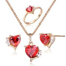 ring pendants necklace images Gold plated heart red ruby cz pendant necklace earrings ring jpg