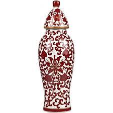 Ginger Jar Vase Chinese Temple Jar Vase With Red Floral Pattern On White Background