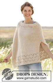drops design poncho so poncho in seed st with lace pattern in air free