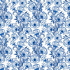 seamless blue floral pattern background in the style of chinese