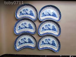 willow pattern jam pot booths real old willow a8025 gold trim set of 6 crescent salad