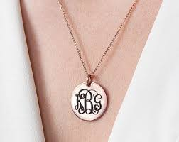 Personalized Disc Necklace Monogram Disc Necklace Personalized Disc Necklace Initial