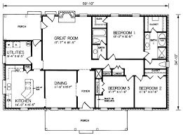 ranch style homes floor plans rectangle house plans house plan 73152 ranch house plans house