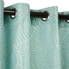 Leaf Pattern Curtains Polyester Leaf Pattern With Grommets Aqua On Sale Dfohome