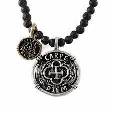 stone silver necklace images Carpe diem mens silver black lava stone necklace jpg