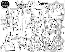 lady in a castle a paper doll coloring page printable paper