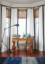 White Curtains With Blue Trim Decorating Everything You Need To About Classic Woven Wood Blinds
