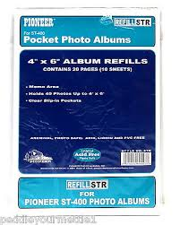 4 x 6 photo album refill pages pioneer st 400 pocket photo album refill str 4 x 6 20 pages 10