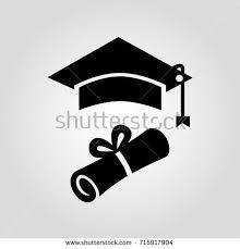 graduation sign certificate diploma paper square graduation cap stock vector