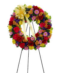 multi color standing sympathy wreath at from you flowers