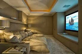 Cozy theater room in small space Via the Enchanted Home basementsystems hometheaterprojector