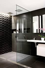 black and white bathroom art modern glass shower enclosure designs
