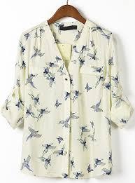 bird blouse beige v neck sleeve birds print blouse shein sheinside
