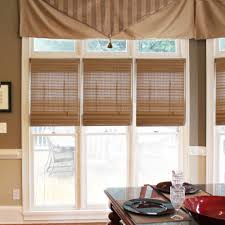Woven Wood Roman Shades On Arched Window Radiance Pecan Westside Bamboo Roman Shade 52 In W X 64 In L