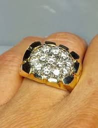 cool gold rings images Big 14k gold men 39 s nugget diamond ring cool gold etsy jpg