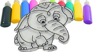 how to draw learn colors for children painting coloring elephant