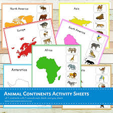 7 Continents Map Animal Continents Activity Sheets Pinay Homeschooler Pdf Shop