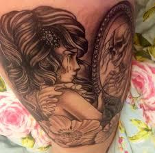 loving my new tattoo pinup mirror skeleton reflection poppy