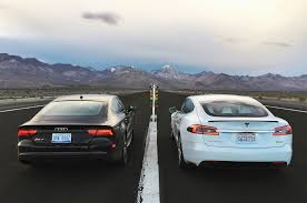 nissan leaf vs tesla tesla model s p100d goes head 2 head with audi rs 7 performance