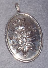reed barton sterling floral oval mirror pendant decoration