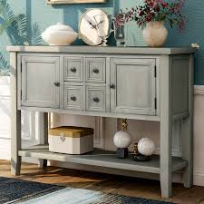 buffet sideboard cabinet storage kitchen hallway table industrial rustic sideboards and buffets sturdy buffet table solid wood kitchen storage buffet and sideboard console tables w 4 storage drawers 2 cabinets 1 bottom
