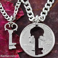 jewelry key necklace images Key necklace couples jewelry quarter relationship hand cut coin jpg