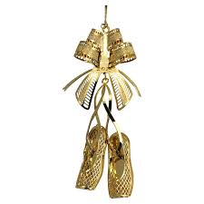 3d gold plated brass ornament ballet slippers pei