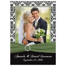 wedding photo thank you cards photo wedding thank you card black white damask printed clover