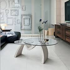 tomo coffee table with 2 round glass tops 111 x 80 h 44 cm
