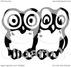 clipart owl black and white clipart of vintage black and white two owls royalty free vector