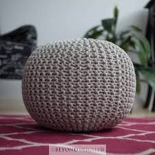 knitted gumball light grey hand made poof pouffe ottoman chair