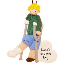 boy broken leg on crutches ornament hair